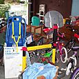 During - From Inside Garage, gathered large toys and donations