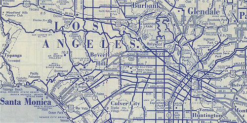 Vintage los angeles southern california map blue
