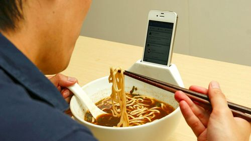 Smartphone docking ramen bowl japan