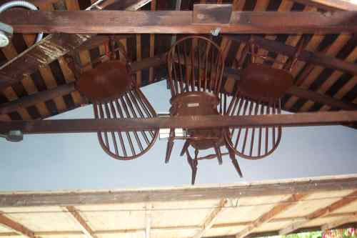 After - Farm house chairs hung for use later
