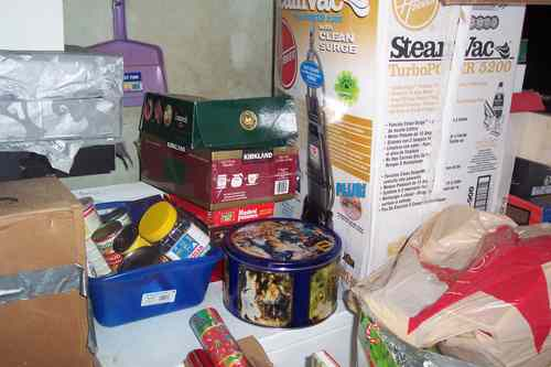 During - Area on Top of Washer, Gathered Foodstuffs found in Garage