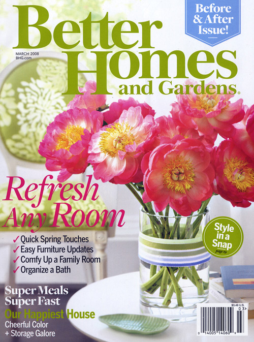 Better Homes and Gardens. Better Homes and Gardens magazine is filled with fun decorating ideas, healthy recipes and garden tips. This is a must-read for anyone who likes to create things and who enjoys personalizing the home with decor items.